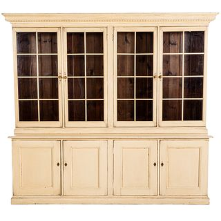 English Painted Distressed Step Back Cupboard