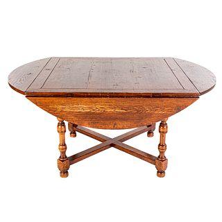 Oak Distressed Drop-Leaf Dining Table