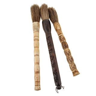 Three Asian Calligraphy Brushes