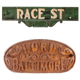 Early Baltimore Street Sign & Hotel Sign