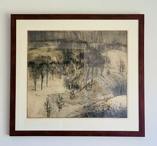 Iowa Landscape 2, Etching by Bill Ellingson 1966
