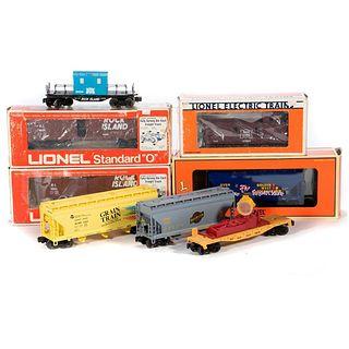 O Gauge Lionel (8) Freight Cars, Rock Island, CNW Grain Train, Golden West
