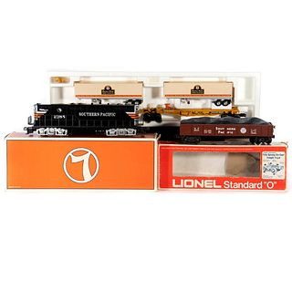 O Gauge Lionel 6-18576 Dummy SP GP9, 6-9821 SP Gondola with load, 6-16345 SP TTUX with trailers all boxed