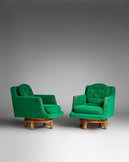 Edward Wormley (American, 1907-1995) Pair of Swivel Lounge Chairs, model 5609