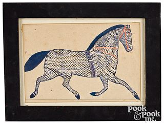 Pennsylvania watercolor fraktur drawing of a horse