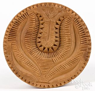 Carved maple butterprint, 19th c.