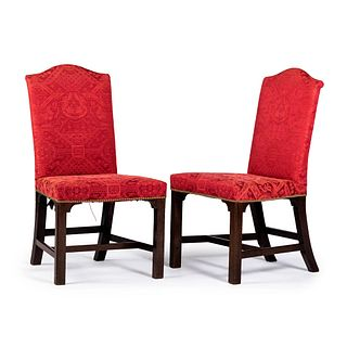 A Pair of George III Silk-Upholstered Mahogany Back Stools, Circa 1800