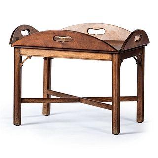 A Regency Style Walnut Tray-Top Low Table,