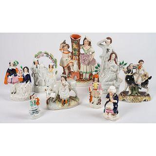 Nine Staffordshire Figurines