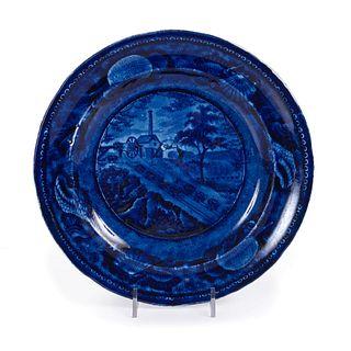 An American Historical Blue Staffordshire Plate, Baltimore & Ohio Railroad