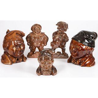 Five Figural Stoneware Tobacco Jars in Dark Brown Glaze