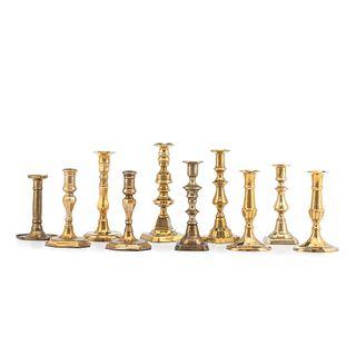 Ten English Brass Candlesticks