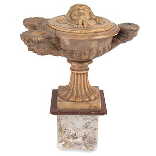 An Italian Marble Grand Tour Oil Lamp