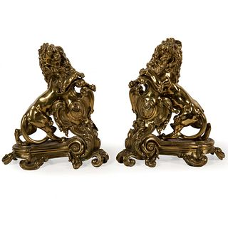 A Pair of Large Brass or Lion-Form Chenets