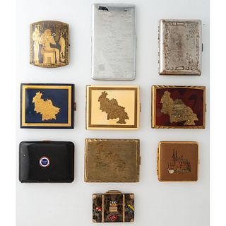 Ten Souvenir Cigarette Cases and Compacts, Including Four Allied-Occupied Germany Examples