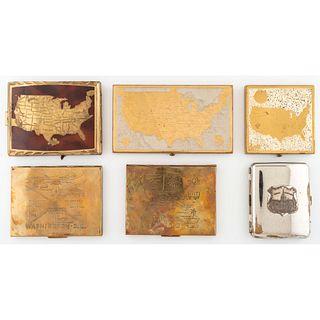 Six American Souvenir Cigarette Cases