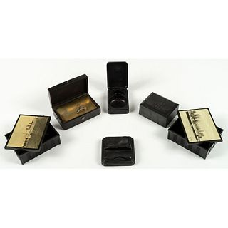 Six Thermoplastic Souvenirs, Including a World's Fair Palais de l'Industrie Music Box, 1855