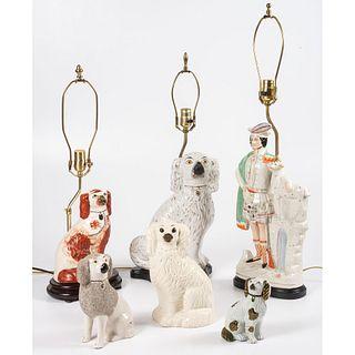 Three Staffordshire Lamps and Three Spaniels