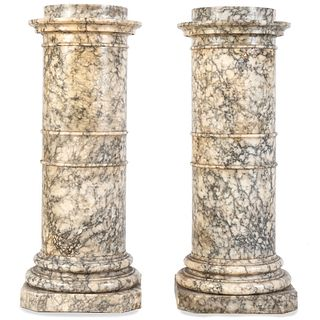 A Pair of Continental Marble Pedestals