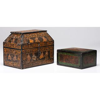 Two Painted Boxes and a Tole Tray