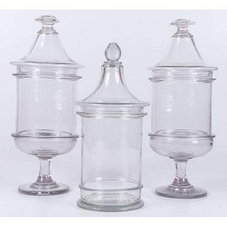 Three Blown Glass Lidded Jars