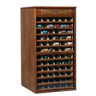 A Royal Society Stenciled Spool Cabinet