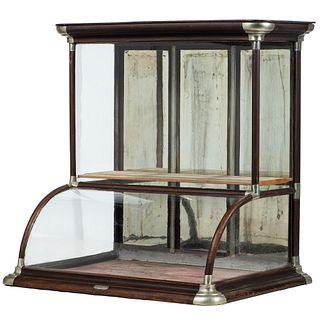 An Excelsior Walnut Frame Countertop Display Case