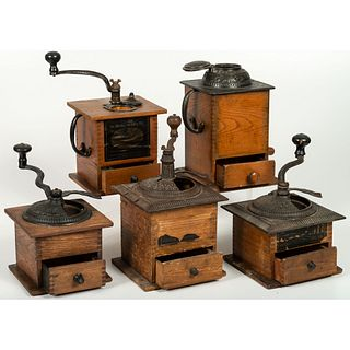 Five Arcade Wooden and Iron Coffee Mills