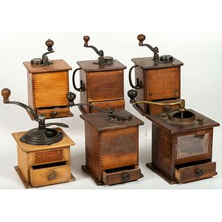 Six Wooden and Iron Coffee Mills