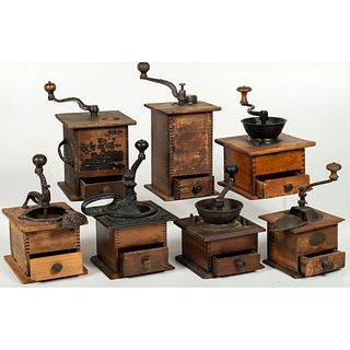 Seven Wooden and Iron Coffee Mills