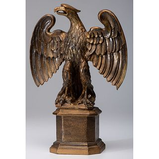 A Painted Wooden Eagle on Stand