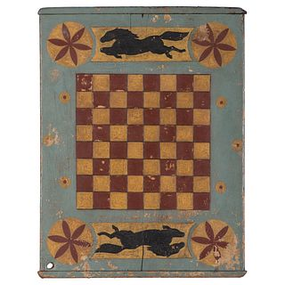 "A Painted and Carved ""Flying Horse"" Gameboard"