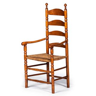 A William and Mary Style Turned Maple Ladder-Back Rush Seat Armchair
