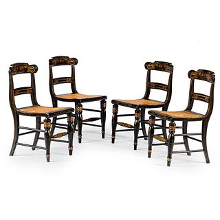 Four Gilt-Stencil Decorated Black-Painted Cane-Upholstered Hitchcock Side Chairs, Circa 1840