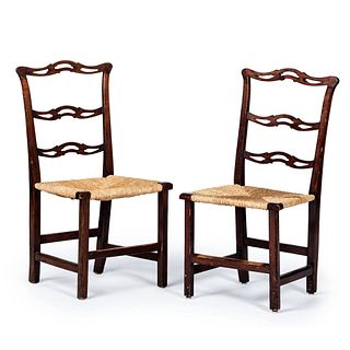 A Pair of Chippendale Carved Cherrywood Rush Seat Chairs, Likely New England, Circa 1800
