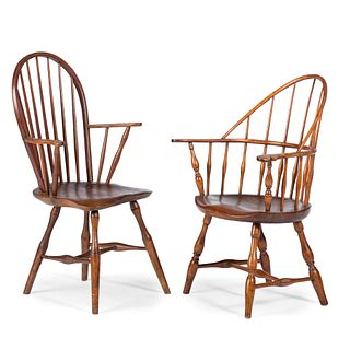 Two Windsor Shaped-Seat Armchairs