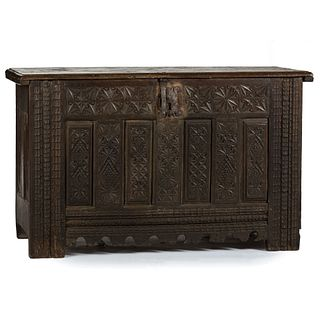 A Continental Carved Oak Blanket Chest
