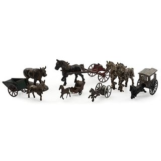 Seven Cast Iron and Pressed Tin Horse Drawn Toys
