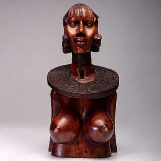 An African Wooden Carved Bust of a Woman