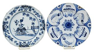 Two Large Blue and White Delft Chargers