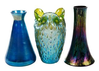 Three Small Art Glass Vases, Tiffany and Loetz