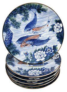 Six Sun Ceramics Koi Fish Chargers