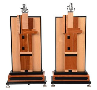 Pair Art Deco Style Wood and Metal Table Lamps