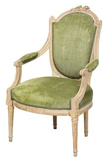 Louis XVI Style Carved Upholstered Armchair