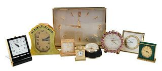 Nine Travel and Desk Clocks, Including Tiffany