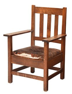 Stickley Brothers Arts and Crafts Oak Armchair
