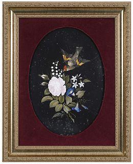 Framed Pietra Dura Floral and Bird Plaque