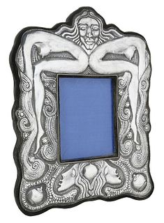 Silver Frame with Punched Figural Decoration
