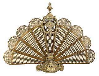 Folding Brass Peacock Fan Fire Screen