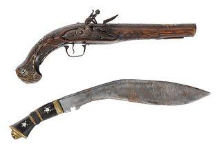 Turkish Ottoman Flintlock Pistol and Gurkha Knife